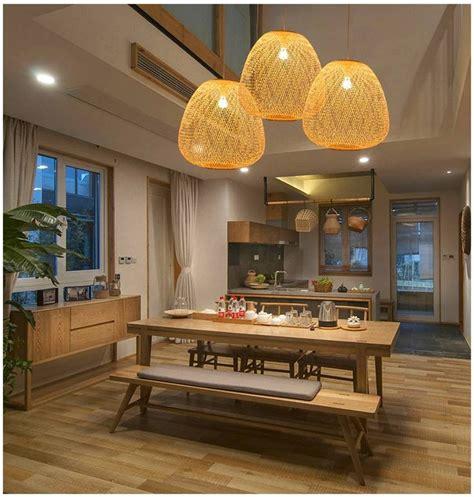 luxury lamp wood bamboo art led pendant lights lighting