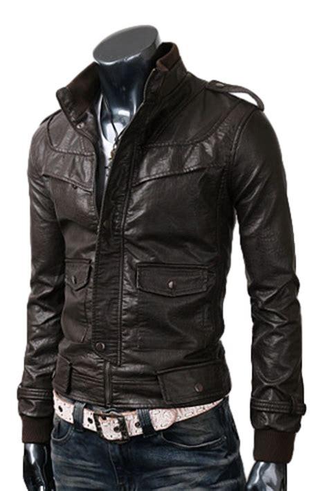 Jaket Blazer Pria Coolmen Black slim black leather jacket