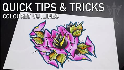 watercolor tattoo flash techniques tips and tricks coloured outlines watercolour inks