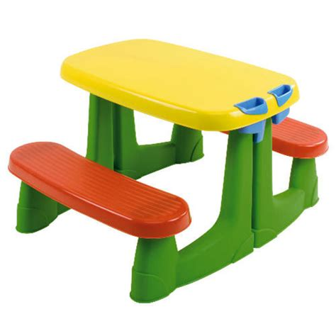 childrens bench table red green and yellow kids plastic picnic table bench for