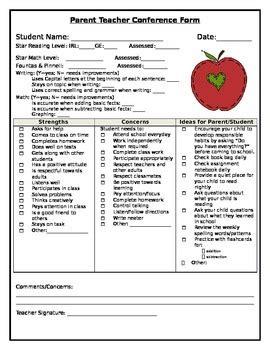 dcps report card template parent conference checklist parent