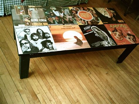 how to cover a table i mod podged my coffee table with record covers diy