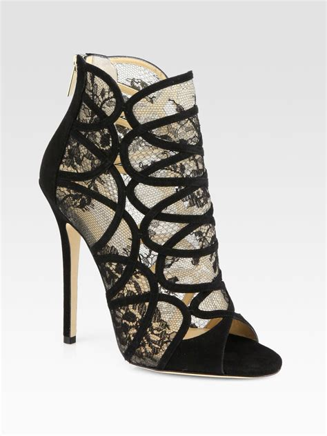 jimmy choo flaunt lace suede ankle boots in black lyst