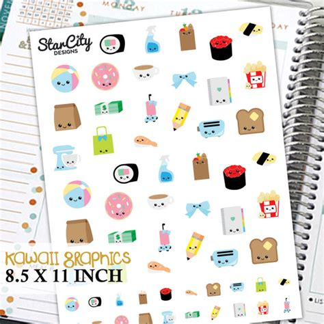 free printable kawaii planner stickers printable kawaii stickers kawaii planner by starcitydesigns