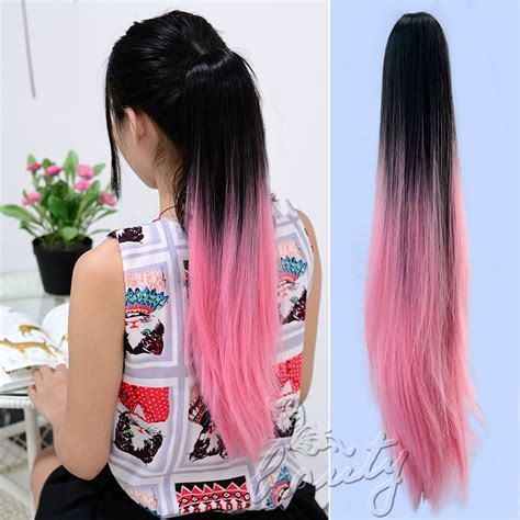 Hairclip Ombreponytailwig ponytail dip dye colour clip in hair extension ombre ebay