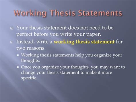 thesis statement for change ppt thesis statements topic sentences and transitions