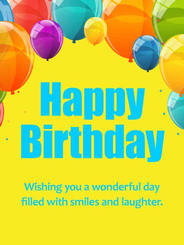 Happy Birthday Wish You A Wonderful Day Wishing You A Wonderful Day Colorful Happy Birthday Card