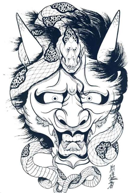 japanese hannya mask tattoo designs japanese hannya mask designs by horimouja outline