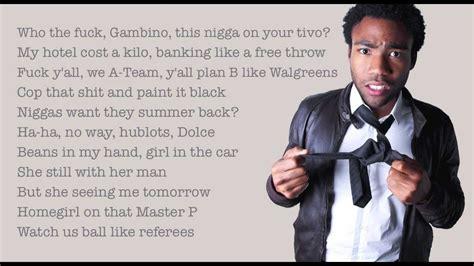 childish gambino unnecessary lyrics childish gambino quot unnecessary feat schoolboy q and ab
