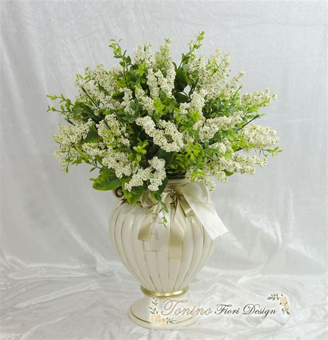 fiori di ceramica vaso porta fiori in ceramica completo di fiori m g