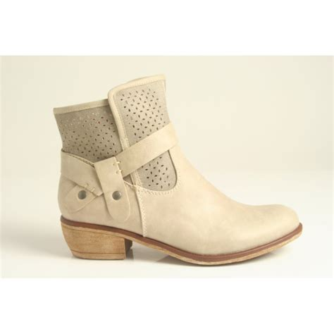 Summer Bootc by Rieker Summer Ankle Boot With Cowboy Style Heel And Punch