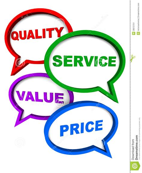 service prices quality service value price stock illustration image 28072751