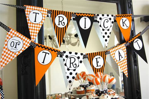 printable halloween banner decorations halloween trick or treat banner diy printable