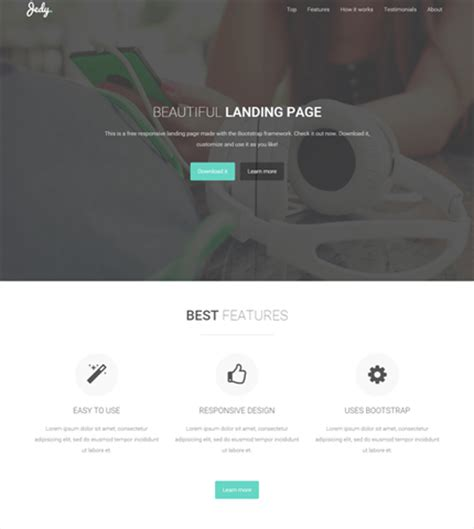Jedy At Bootstrapzero Bootstrap 4 Landing Page Template