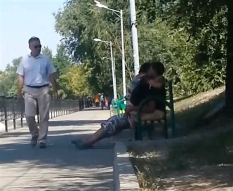 kazakh couple caught on park bench in amalty having sex