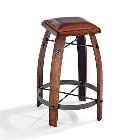 Barrel Bar Stools by Vintage Oak Wine Barrel Bar Stool With Leather Seat Wine