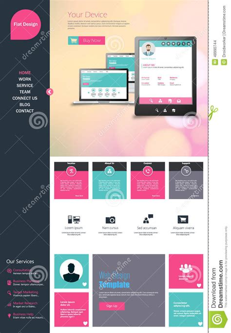 flat one page website design template all in one set for