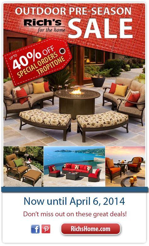 pre season outdoor furniture sale  richs  april
