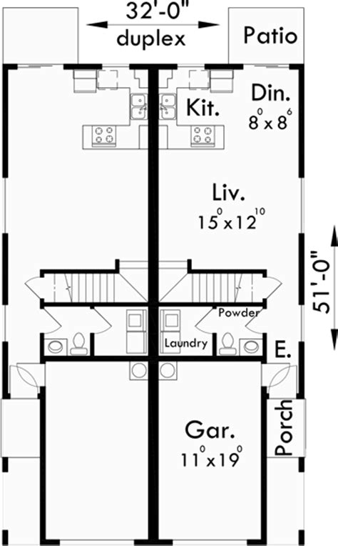 duplex floor plans for narrow lots narrow lot duplex house plans 16 ft wide row house plans d 430