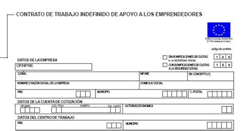 contrato indefinido de apoyo a los emprendedores ejemplo de contrato de trabajo para pymes laboral
