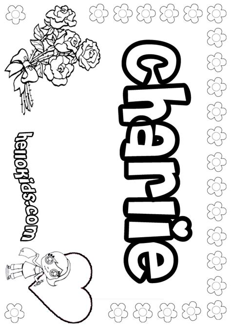 girls name coloring pages charlie girly name to color