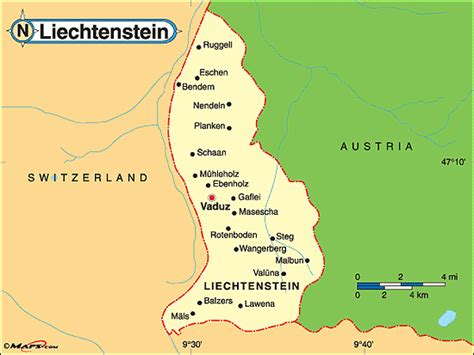 where is liechtenstein on a map liechtenstein politische karte
