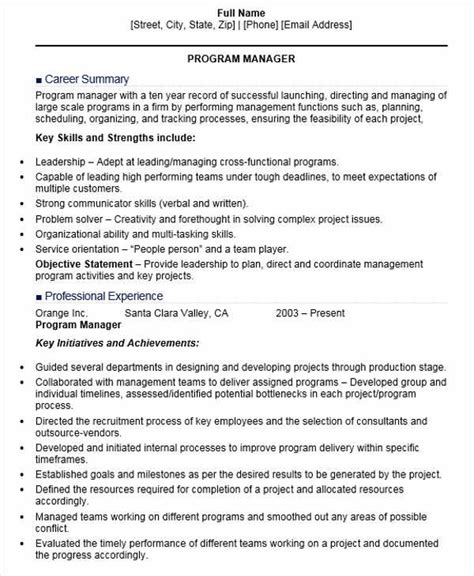 sle resumes for project managers sle resume program manager 28 images trainee project
