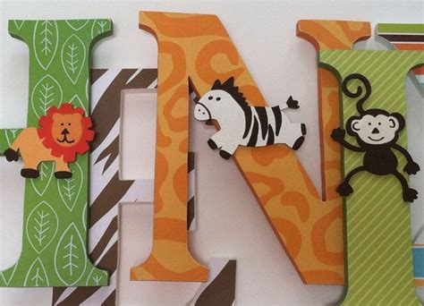 Jungle Theme Nursery Decor Wooden Letters For Jungle Themed Nursery Nursery Wooden Wall Letters Jungle Theme By