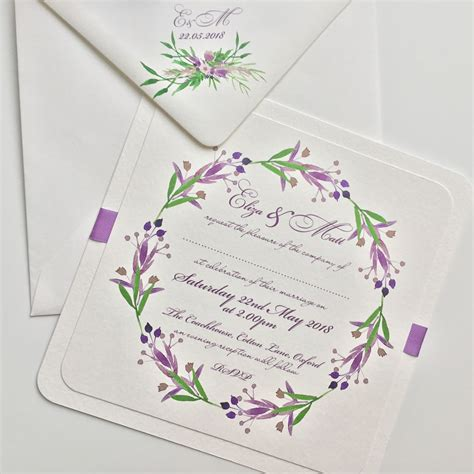 Wedding Invitation Green by Lavender And Green Floral Bouquet Wedding Invitation