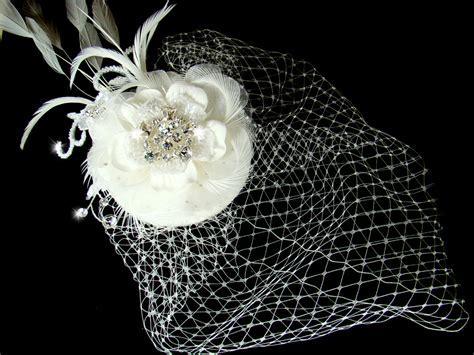 Bridal Hat and Birdcage Veil Clip   Elegant Bridal Hair