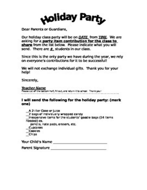 class holiday party letter english  spanish