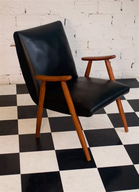 50s armchair authentic vintage armchair 50s 1950 black leather