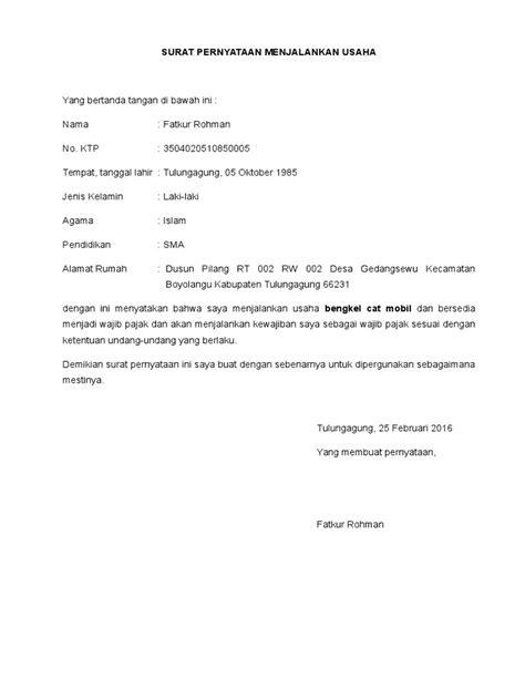 surat pernyataan menjalankan usaha