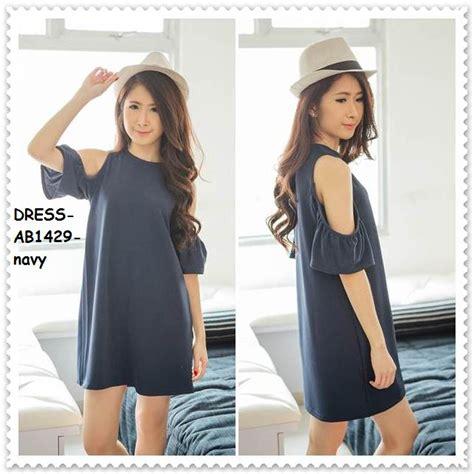 Baju Atasan Sabrina Shoulder Blouse Wanita Korea Import Biru Blue jual dress rok sabrina shoulder baju blouse pakaian wanita korea import amelie butik