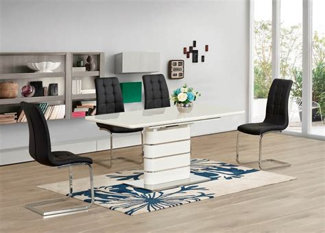 White High Gloss Glass Extending Dining Table And 4 Black Black Gloss Extending Dining Table