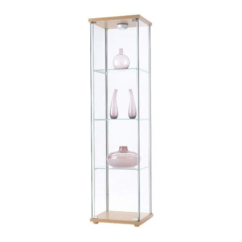 ikea display detolf glass door cabinet beech effect ikea
