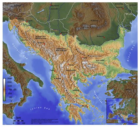 a map maps of balkans detailed political relief road and