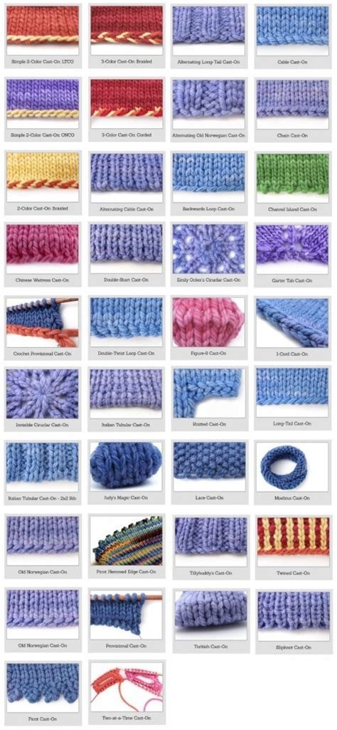 different pattern materials in casting knitting for beginners 38 different and awesome cast on