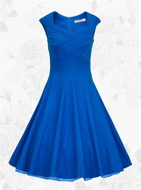 Simple Dress royal blue square neck vintage style knee length 50s 60s prom swing dress women s dress us