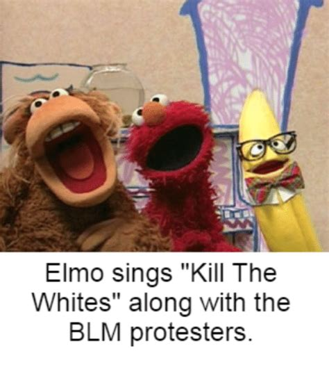 Elmo Memes - elmo sings kill the whites along with the blm protesters elmo meme on sizzle
