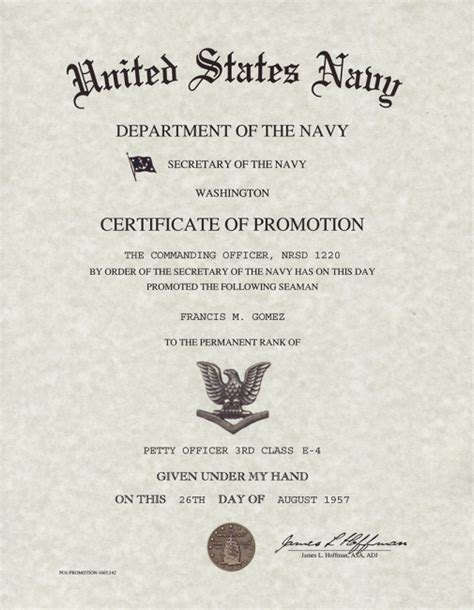 officer promotion certificate template navy enlisted promotion certificates
