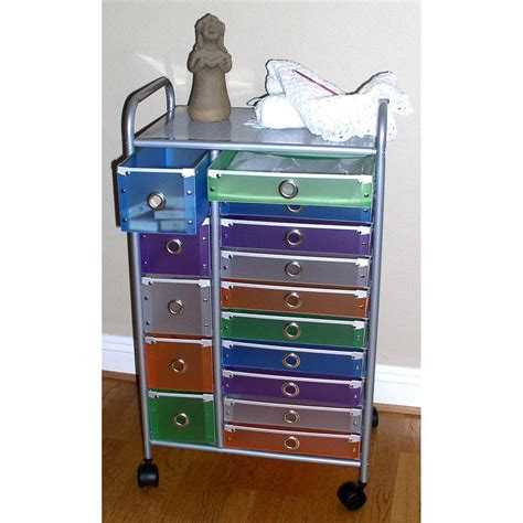 colored drawer cart 4d concepts multi color 15 drawer rolling cart