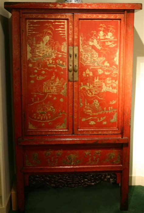 pair  red lacquer cabinets antique chinese furniture