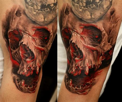 realistic skull tattoos cracked skull realistic best ideas gallery