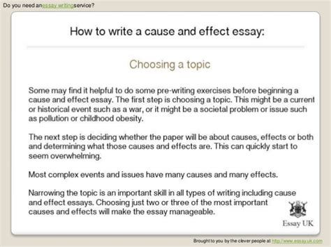 Exle Essay Cause And Effect by Cause And Effect Essay Powerpoint Unit What The Use Of Homework Research Papers Explosive