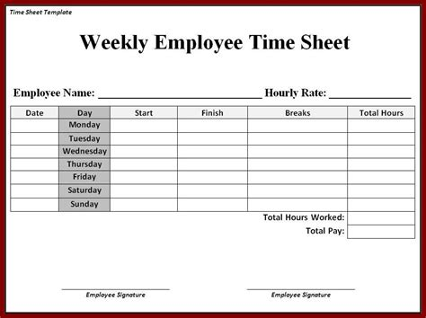 sle time card template time card templates free printable printable timesheet
