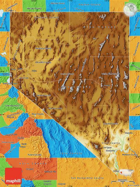 physical map of nevada physical map of nevada political outside