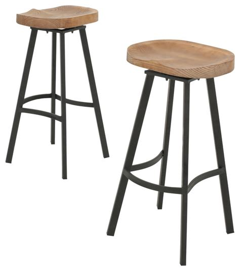 rustic bar stools swivel shea wood and iron rustic swivel bar stool set of 2