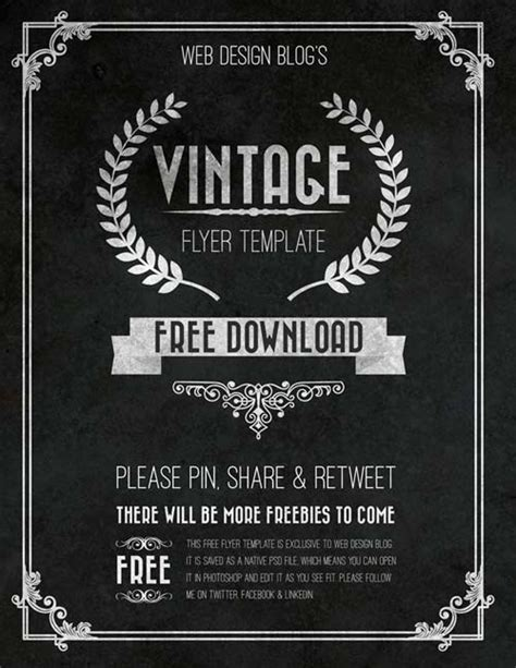 retro flyer template free the free vintage chalkboard flyer psd template