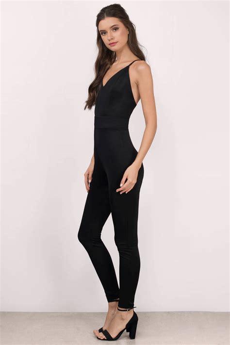 Jumpsuit V Nect black jumpsuit sleeveless jumpsuit high waisted